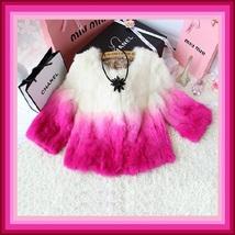 Gradient Color Fade Long Sleeve Soft Genuine Rex Rabbit Fur Coat Jacket image 3