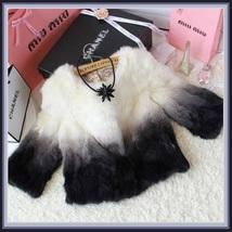 Gradient Color Fade Long Sleeve Soft Genuine Rex Rabbit Fur Coat Jacket image 4