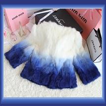 Gradient Color Fade Long Sleeve Soft Genuine Rex Rabbit Fur Coat Jacket image 5