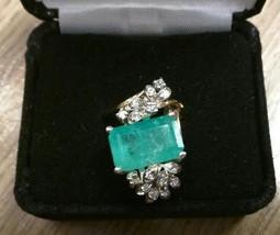 Huge Certified 7.29 ct Columbian Emerald .7 diamond 14k gold Engagement ... - $7,999.99