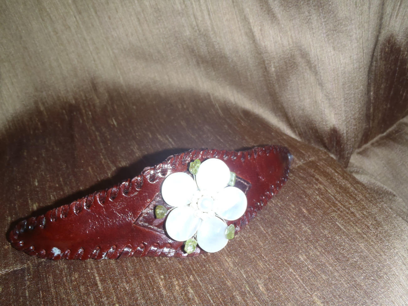 Leather Cuff Brown Bracelet with  White Shell Flower Stones
