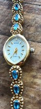 Nicolet Wrist Watch Gold Tone Sapphire Encrusted Dainty Ladies Jewelry G... - $70.56