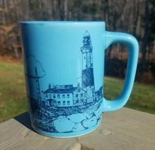 Vintage Otagiri Coffee Mug Design Gibson Greetings Blue Coastal Lighthouse Maine - $24.70