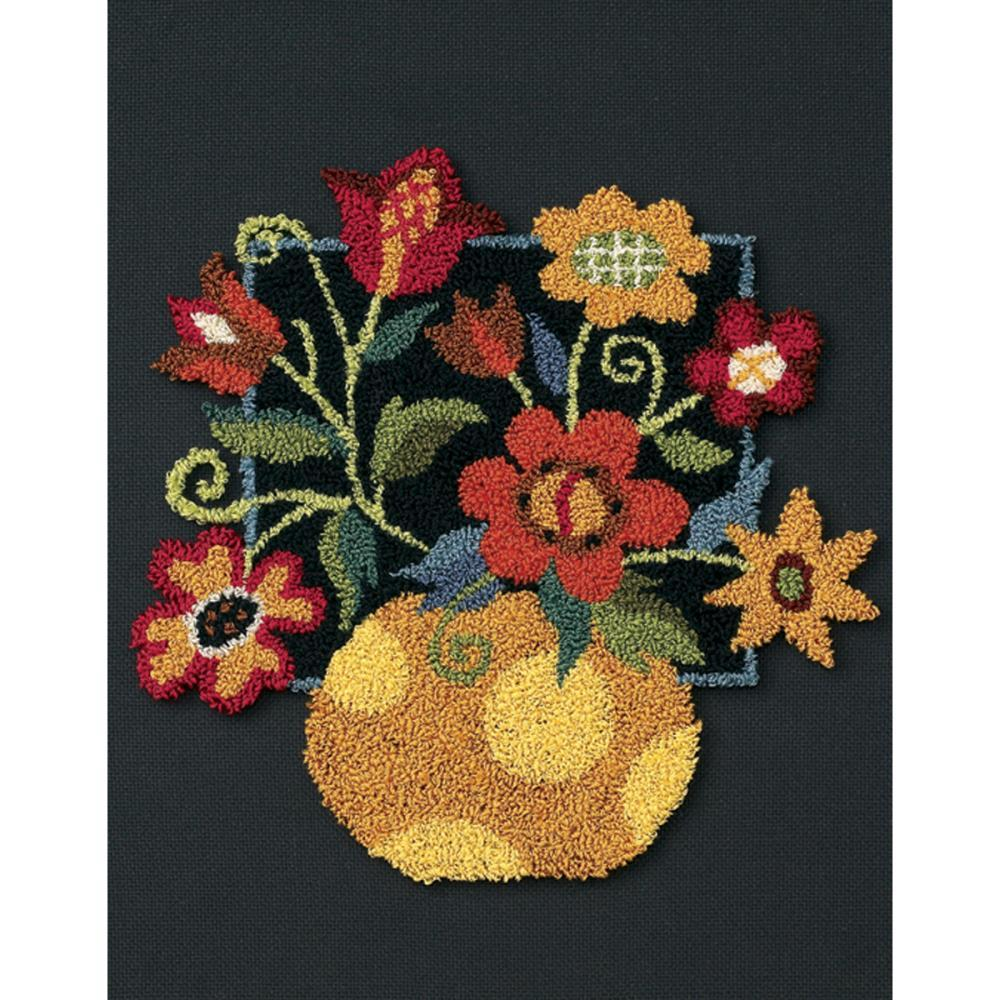 Floral on Black Punchneedle kit Dimensions - $15.30