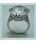 Oversize Diamond Cut Crystal Zircon Antique Silver Victorian Renaissance... - $74.95