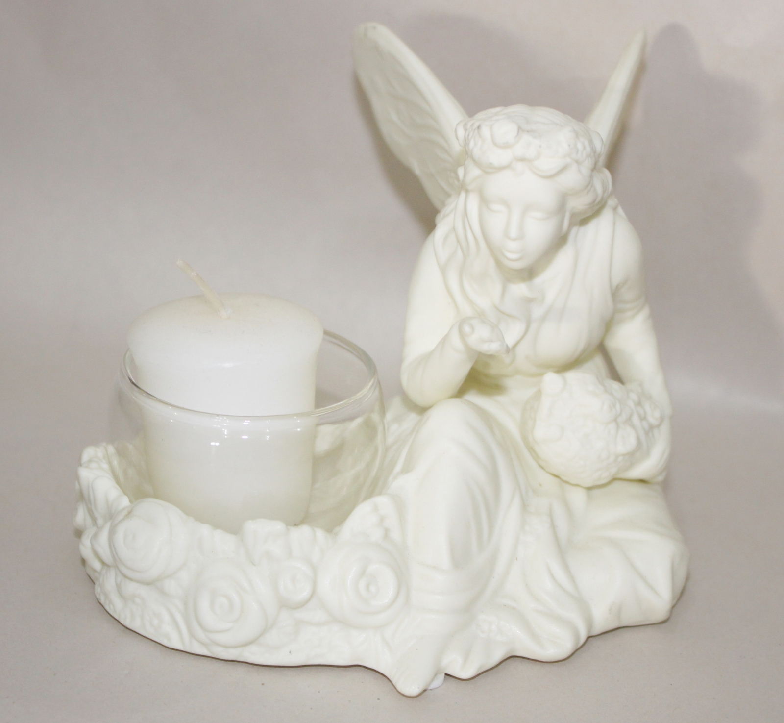 PartyLite Ariana White Fairy Candle Ceramic Tea-light Holder
