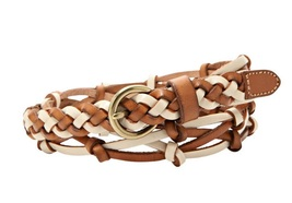 Fossil Knotted Woven Leather Jean Belt - S - BT4073 Open Woven Neutral M... - $21.00