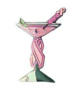 Pink Ribbon Martini Lapel Pin Breast Cancer Awa... - $11.97
