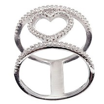 14K WHITE GOLD VERMEIL Open Stack Look Heart CZ Knuckle Ring-Bridal-Band... - $45.00