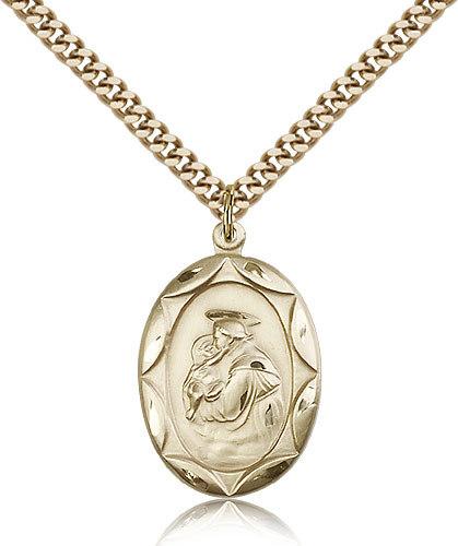 Men's Bliss Gold Filled Patron Saint Anthony Medal Pendant Necklace  0801DGF/24G