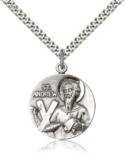 Men's Bliss Sterling Silver Patron Saint Andrew Medal Pendant-24 Inch Necklace