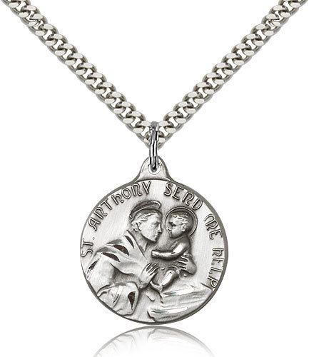 Men's Bliss Sterling Silver Patron Saint Anthony Medal Pendant Necklace  1602SS/