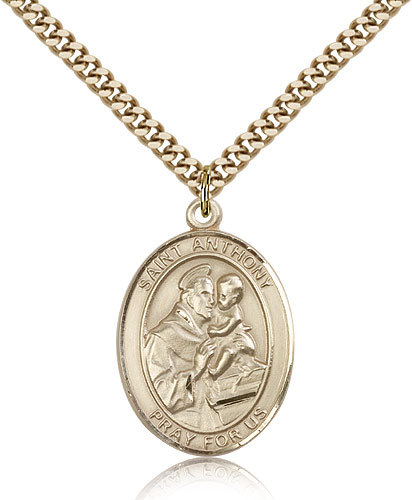 Men's Bliss Gold Filled Patron Saint Anthony of Padua Medal Pendant 7004GF/24G