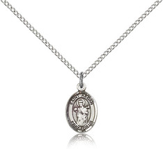 Bliss Small Sterling Silver Patron Saint Aedan of Ferns Medal Pendant For Wom - $42.50