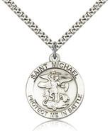 Men's Bliss Sterling Silver Patron Saint Michael Medal Pendant Necklace ... - $64.00