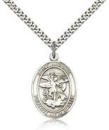 Men's Bliss Sterling Silver Patron Saint Michael Medal Pendant Necklace ... - $52.00