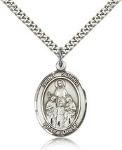 Men's Bliss Sterling Silver Patron Saint Sophia Medal Pendant-24 Inch Ne... - $52.00