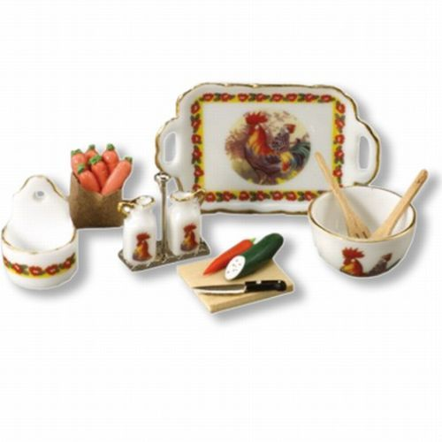 Dollhouse Rooster Kitchen Set 1.499/8 Reutter Cruets Miniature