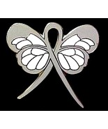 Brain Cancer Pin Gray Awareness Ribbon Butterfl... - $10.97