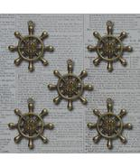Bronze Captains Wheel Vintage Metal Findings Charms cross stitch needlework - $3.00