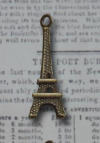 Bronze L'Amour Eiffel Tower Vintage Metal Finding Charms cross stitch needlework