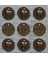 Bronze Love Heart Circle Vintage Metal Findings Charms cross stitch need... - $3.00