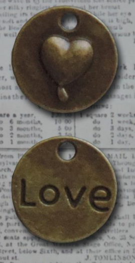 Bronze Love Heart Circle Vintage Metal Findings Charms cross stitch needlework