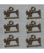 Bronze Sew Cute Machine Vintage Metal Findings Charms cross stitch needl... - $3.00