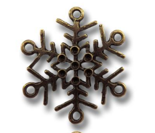 Bronze Let It Snow Snowflake Vintage Metal Finding Charm cross stitch needlework