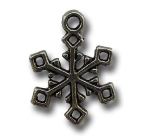 Silver Frosty Snow Crystals Vintage Metal Finding Charm cross stitch needlework