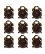 Bronze Alarm Clocks Vintage Metal Findings Charms cross stitch needlework - $3.00