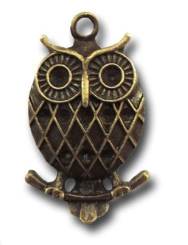 Bronze Wise Owls Vintage Metal Findings Charms cross stitch needlework
