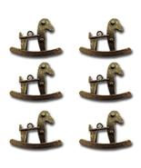 Bronze Rocking Horses Vintage Metal Findings Charms cross stitch needlework - $3.00