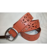 Fossil Brand Signature Floral Cut Out Perforated Leather Belt - S - Ligh... - $24.00