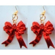 Funky RED GLITTER RIBBON BOWS EARRINGS-Valentine's Day Holiday Costume J... - $6.97