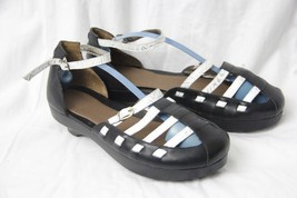 Woman/s Shoes ANTELOPE Black White Leather Loafer Sandals Size 8 / 40 - $79.19