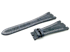 28mm Navy/White Real Leather Watch Strap For Audemars Piguet RoyalOak Offshore - $41.94