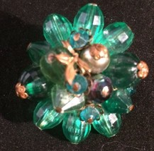 Vintage West Germany Green Bead Pin Wired Brooch - $21.24
