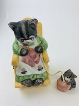 San Francisco Music Box  Cat Kitten Rocking Chair Musical Figure - $11.88
