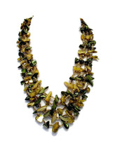 Mid Century 5 Strand Dyed Mother of Pearl Shell Chip Necklace  - $22.00