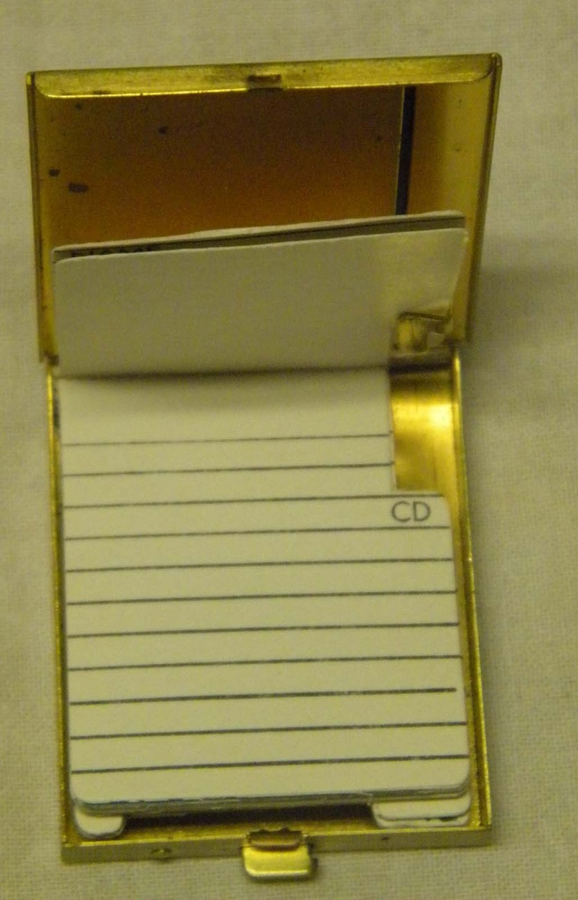 Vintage brass compact folding address book gold toned 1 3/4  x 2 1/2  inch