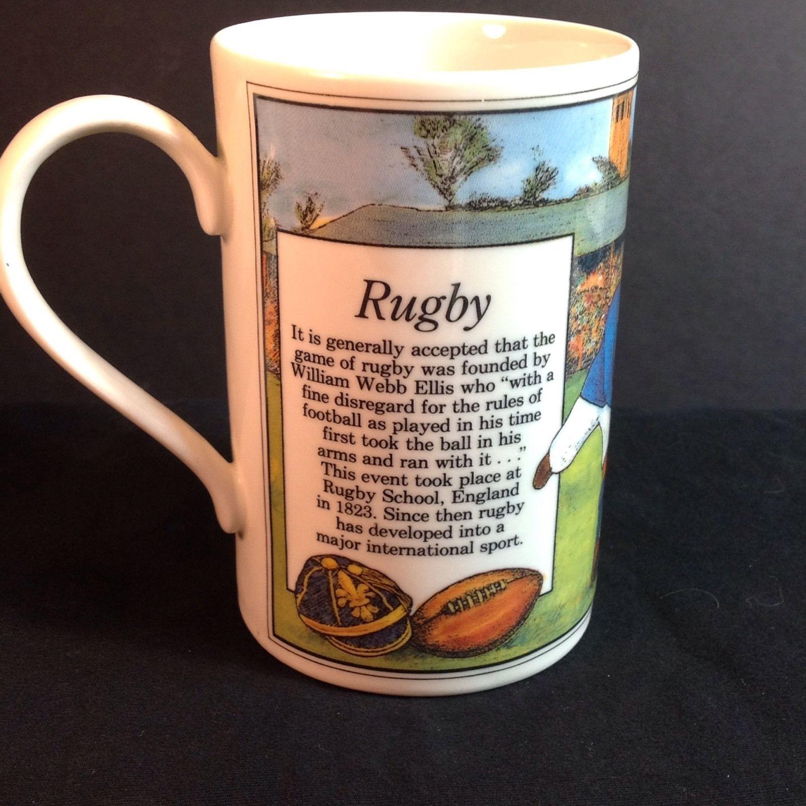 "Dunoon Scotland Rugby Players Mug Cup History William Webb Ellis Football 4"""