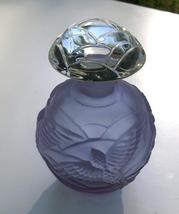 Perfume Bottle Frosted Purple with Birds and Cl... - $50.00