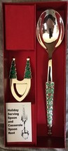 Reed & Barton Stainless Holiday Serving Spoon & Spoon Rest Neiman Marcus... - $32.66