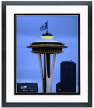 Seattle Space Needle 12th Man Flag Flying Proudly - 11x14 Matted & Framed Photo  - $42.95