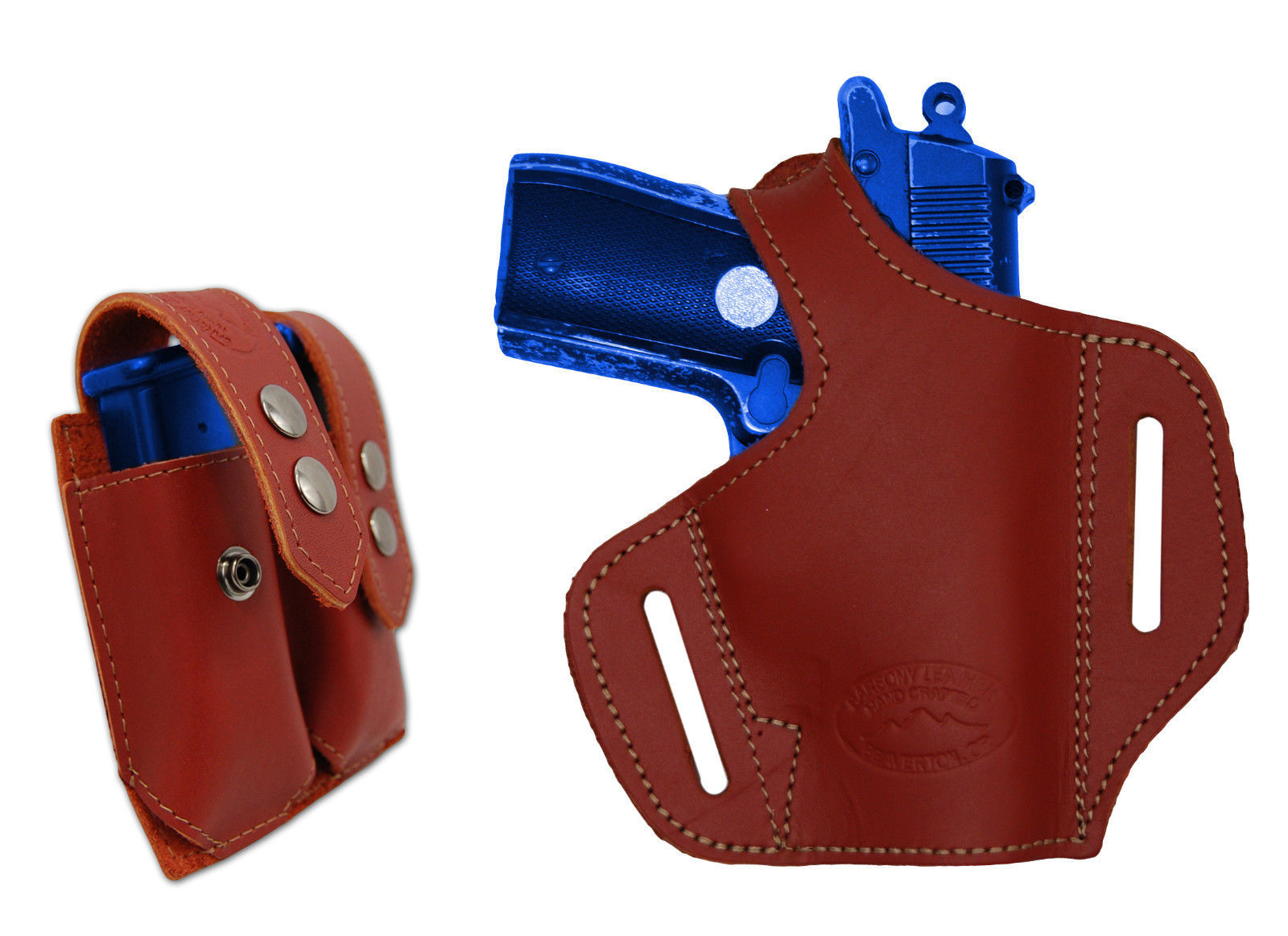 NEW Barsony Burgundy Leather Pancake Gun Holster + Mag Pouch NA Arms Llama 22 25