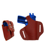 NEW Barsony Burgundy Leather Pancake Gun Holster + Mag Pouch Raven Jenni... - $74.99