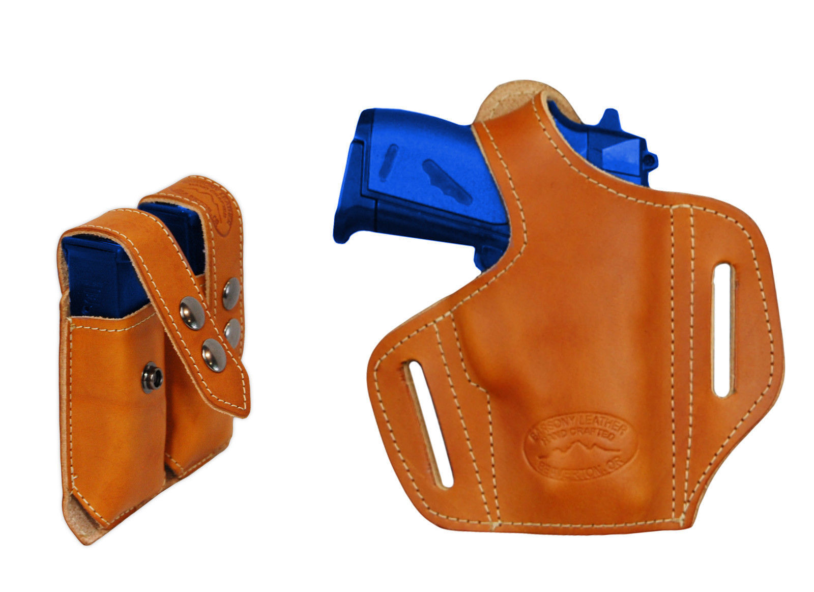 NEW Barsony Tan Leather Pancake Gun Holster + Mag Pouch Smith&Wesson 22 25 380