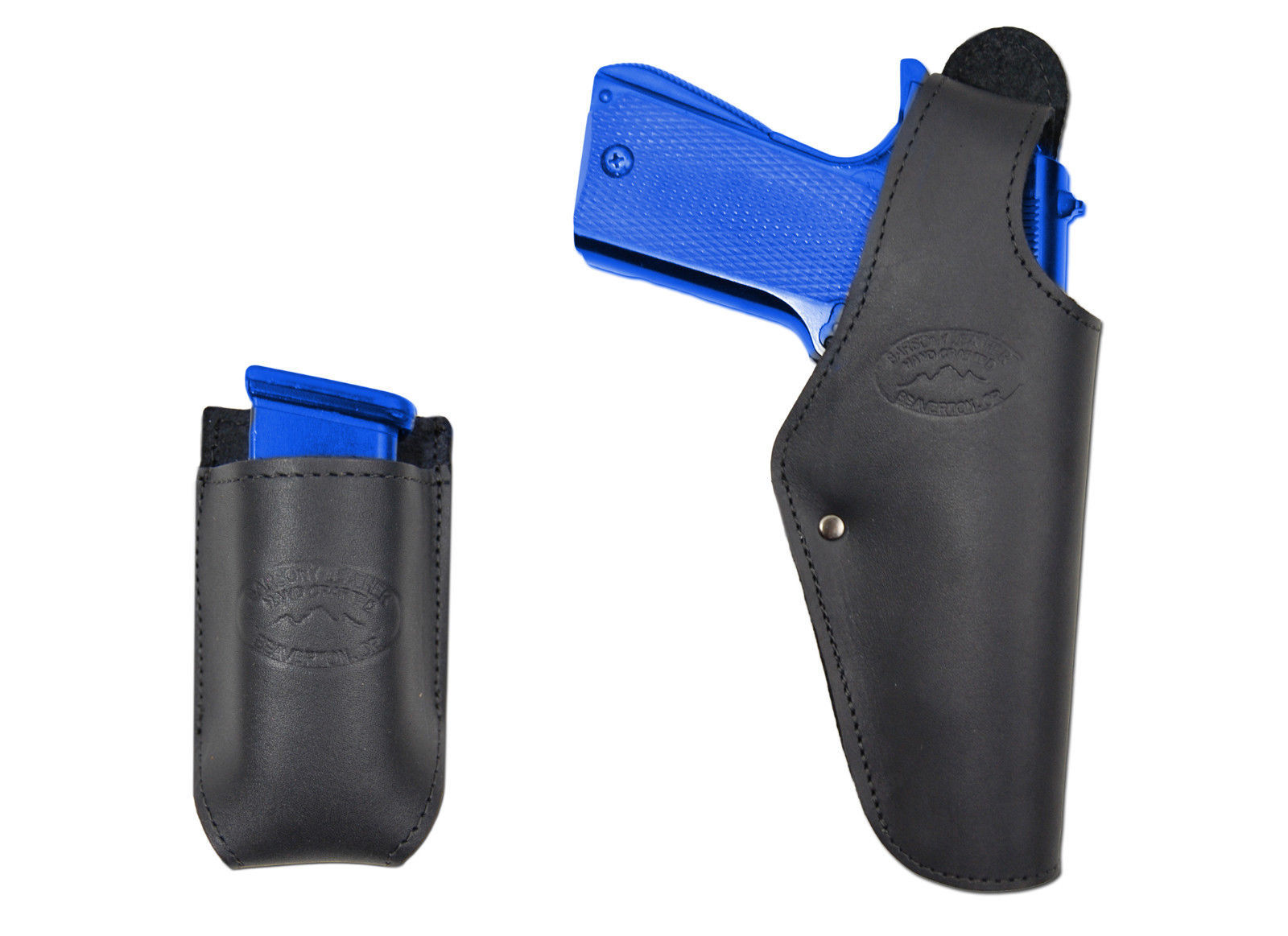 Dbl Mag Pouch Steyr Walther Full Size 9mm 40 New Black Leather Pancake Holster
