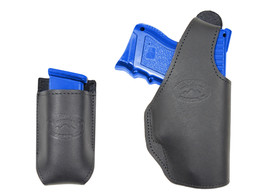 New Barsony Black Leather OWB Holster + Mag Pouch Sig-Sauer Compact 9mm 40 45 - $69.99